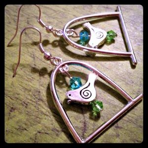 Jewelry - Springtime Birdcage Handmade Earrings New